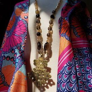 """""""Justeen"""" Smoky Quartz, Crystals & Cross Necklace"""